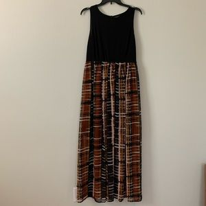 Black/Plaid Maxi Dress